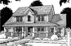 Southern , Farmhouse , Country House Plan 68153 with 3 Beds, 3 Baths, 2 Car Garage Elevation