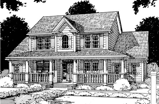 Country Farmhouse Southern House Plan 68153 Elevation
