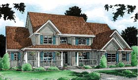 Country , Southern House Plan 68154 with 4 Beds, 4 Baths, 3 Car Garage Elevation