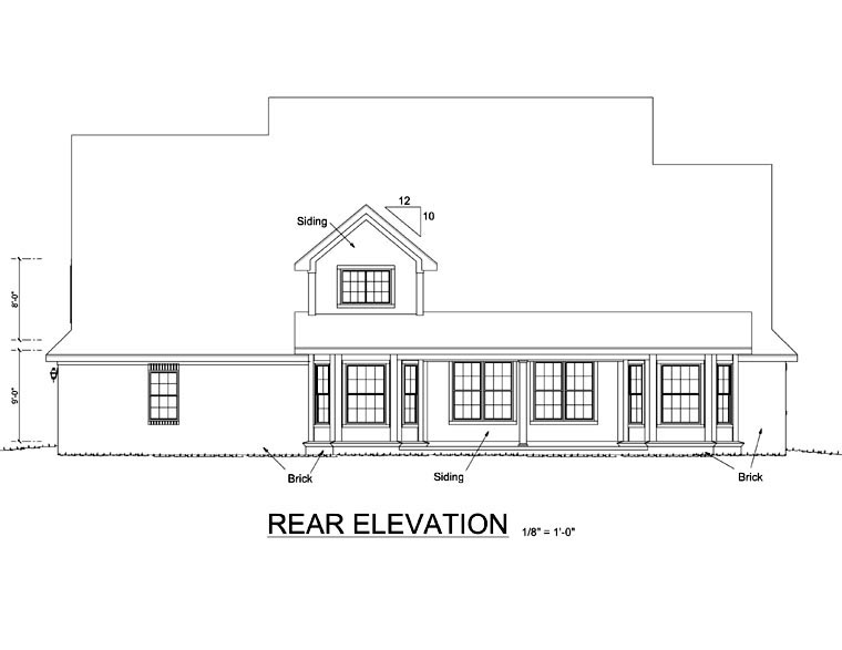 Country Southern House Plan 68154 Rear Elevation