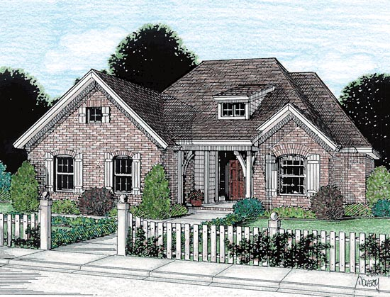 Traditional House Plan 68156 with 3 Beds, 2 Baths, 2 Car Garage Elevation
