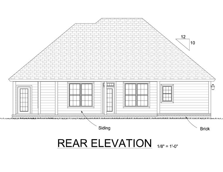 Traditional House Plan 68156 with 3 Beds, 2 Baths, 2 Car Garage Rear Elevation