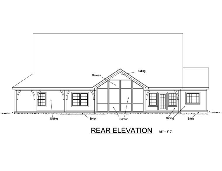 Country Southern House Plan 68159 Rear Elevation