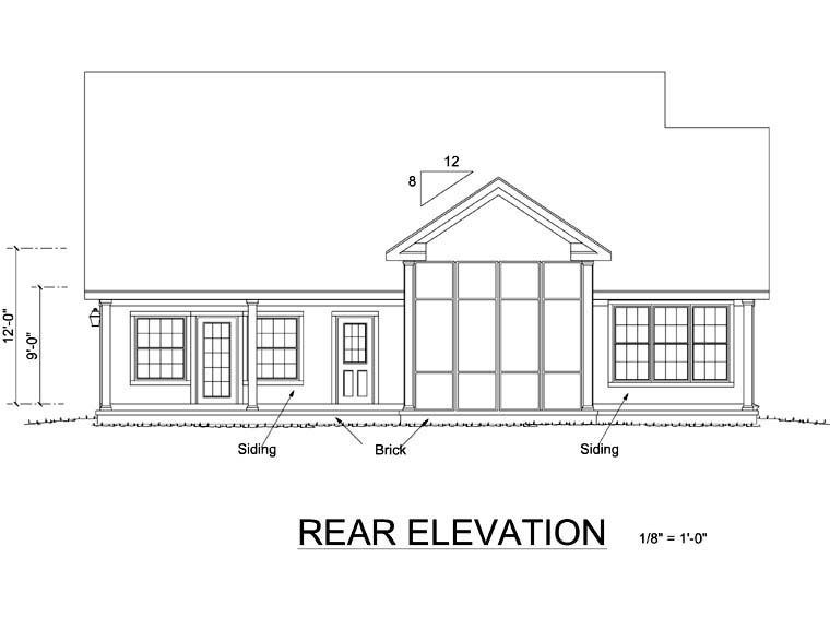 Country Southern Traditional House Plan 68160 Rear Elevation