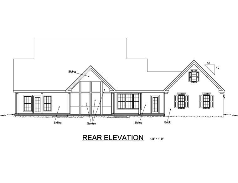 Country Farmhouse House Plan 68162 Rear Elevation