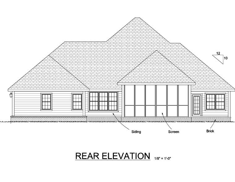 Country Farmhouse Southern Victorian House Plan 68163 Rear Elevation