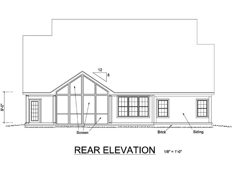 Traditional House Plan 68164 Rear Elevation