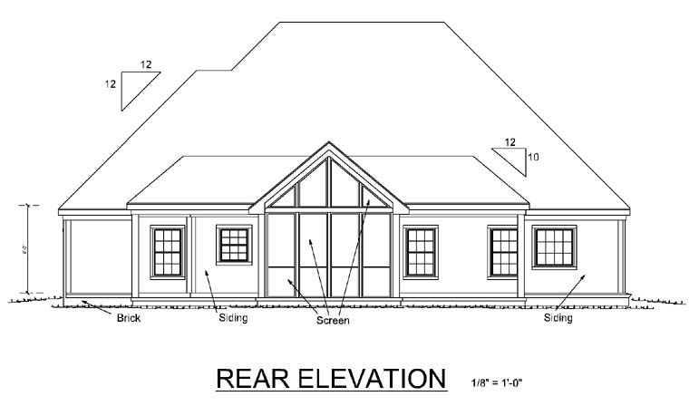 House Plan 68165 | Traditional Style Plan with 1604 Sq Ft, 3 Bed, 2 Bath, 2 Car Garage Rear Elevation