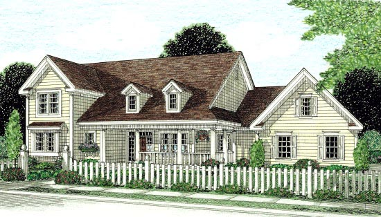House Plan 68166 | Country, Southern, Traditional Style House Plan with 2438 Sq Ft, 4 Bed, 3 Bath, 3 Car Garage Elevation
