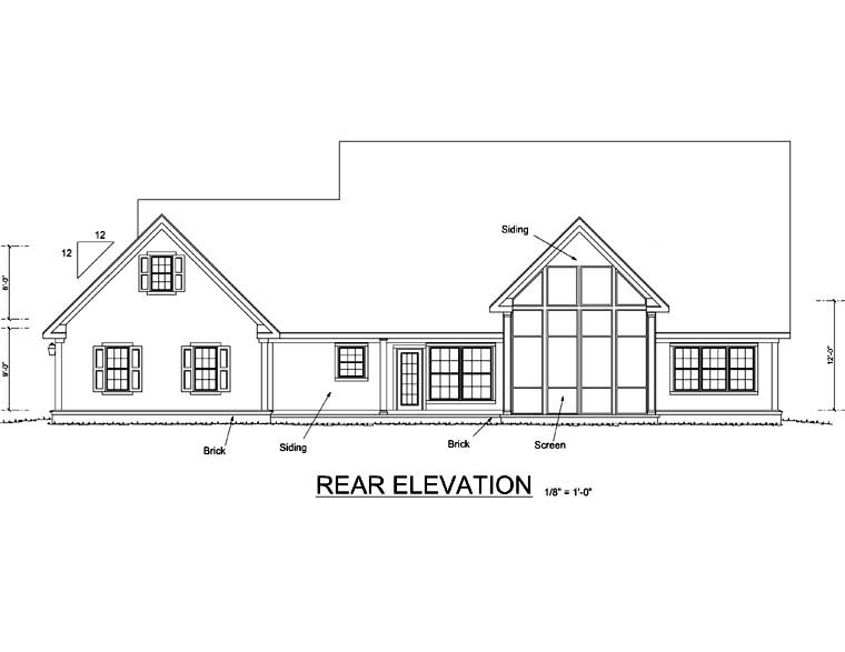House Plan 68166 | Country, Southern, Traditional Style House Plan with 2438 Sq Ft, 4 Bed, 3 Bath, 3 Car Garage Rear Elevation