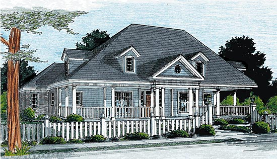 Country , Farmhouse , Southern , Elevation of Plan 68167