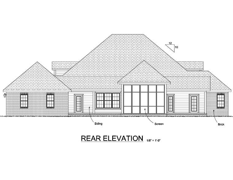 Country , Farmhouse , Southern , Rear Elevation of Plan 68167
