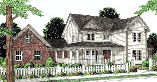 Country Farmhouse Southern House Plan 68168 Elevation