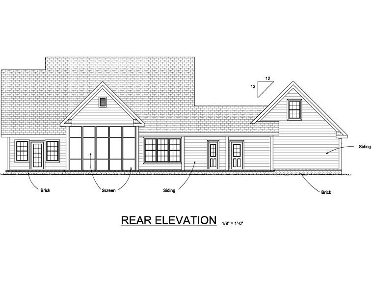 Country Farmhouse Southern House Plan 68168 Rear Elevation
