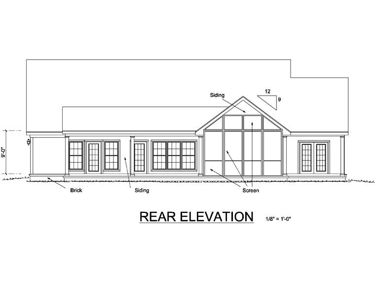 Country Traditional House Plan 68169 Rear Elevation