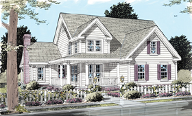 House Plan 68170 | Country, Farmhouse Style House Plan with 1867 Sq Ft, 3 Bed, 3 Bath, 2 Car Garage Elevation