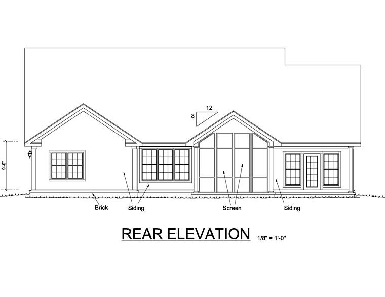 Traditional House Plan 68171 Rear Elevation