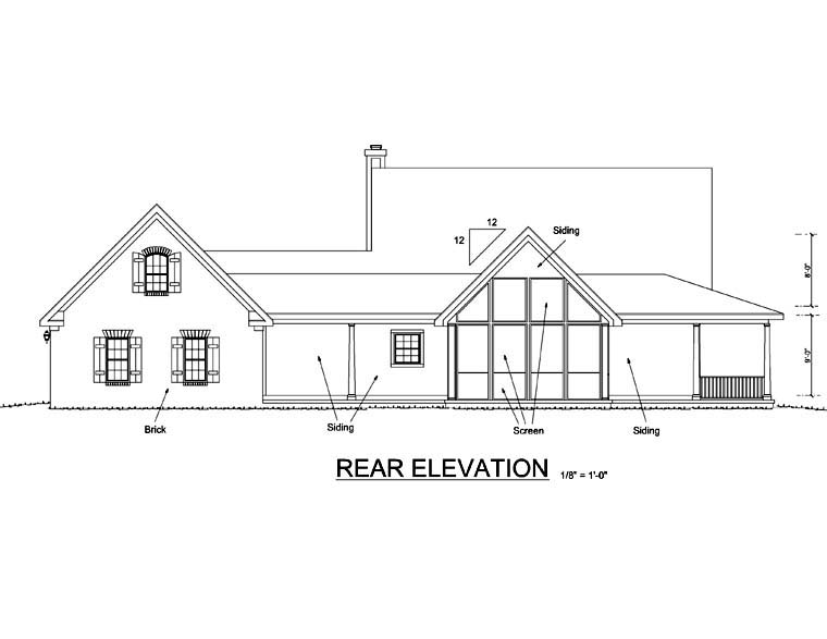 Country Southern Rear Elevation of Plan 68172