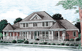 Colonial Country Farmhouse Southern House Plan 68173 Elevation