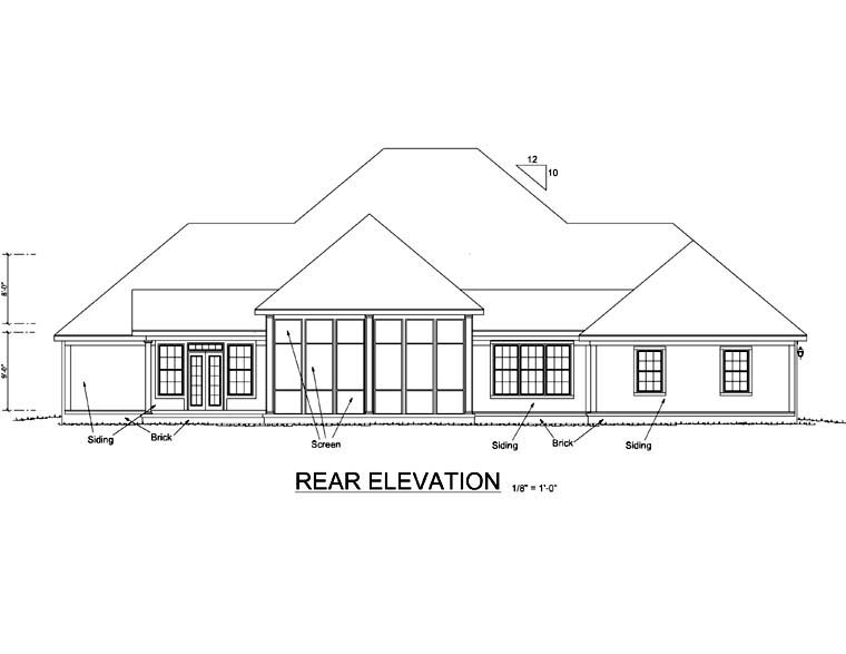 Colonial Country Farmhouse Southern House Plan 68173 Rear Elevation