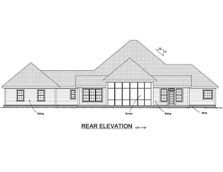 Country Southern House Plan 68174 Rear Elevation
