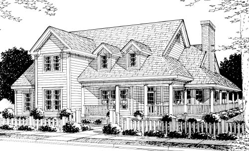 Country Farmhouse Southern House Plan 68176 Elevation