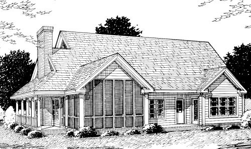 Country Farmhouse Southern House Plan 68176 Rear Elevation