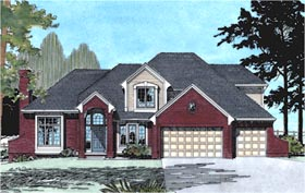 House Plan 68181 | European Style Plan with 3067 Sq Ft, 4 Bedrooms, 4 Bathrooms, 3 Car Garage Elevation