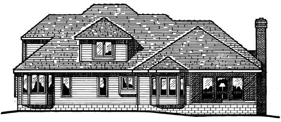 European House Plan 68181 Rear Elevation