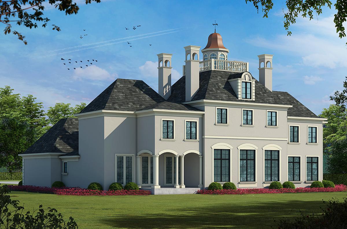 Colonial European House Plan 68186 Rear Elevation