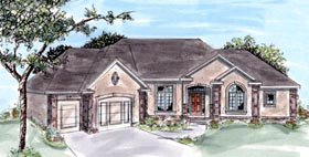 House Plan 68193 | Traditional Style Plan with 2223 Sq Ft, 1 Bedrooms, 2 Bathrooms, 3 Car Garage Elevation