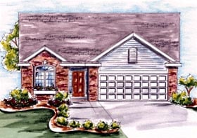 House Plan 68198 | Traditional Style Plan with 1423 Sq Ft, 1 Bedrooms, 2 Bathrooms, 1 Car Garage Elevation