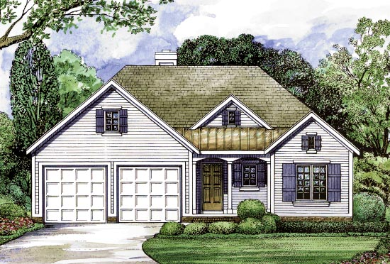 Country , Traditional House Plan 68201 with 3 Beds, 2 Baths, 2 Car Garage Elevation