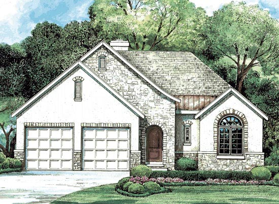 European House Plan 68202 with 3 Beds, 2 Baths, 2 Car Garage Elevation