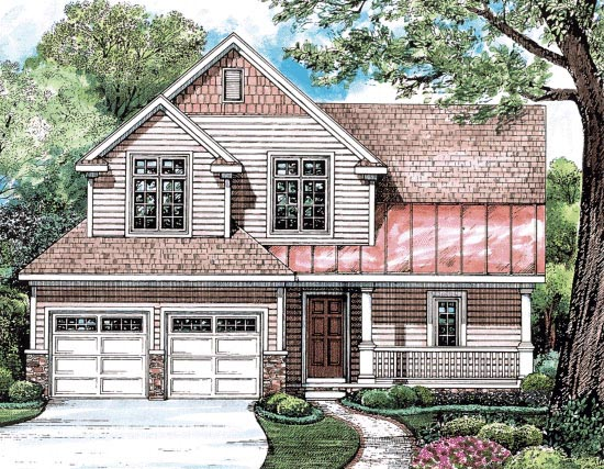 Bungalow, Country, Southern House Plan 68203 with 3 Beds, 3 Baths, 2 Car Garage Elevation