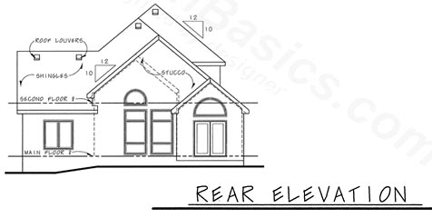 European Rear Elevation of Plan 68204
