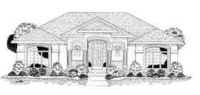 European, Mediterranean, One-Story House Plan 68206 with 2 Beds, 2 Baths, 2 Car Garage Front Elevation