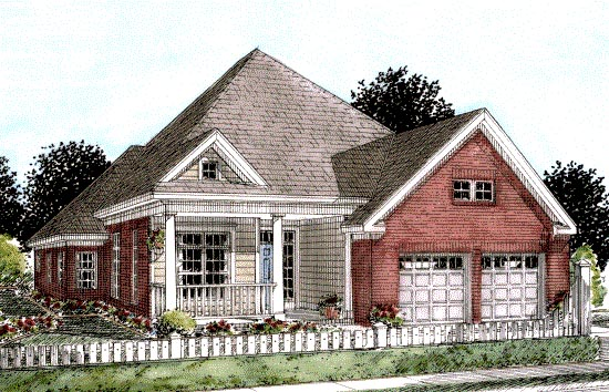 Traditional House Plan 68208 with 3 Beds, 2 Baths, 2 Car Garage Elevation