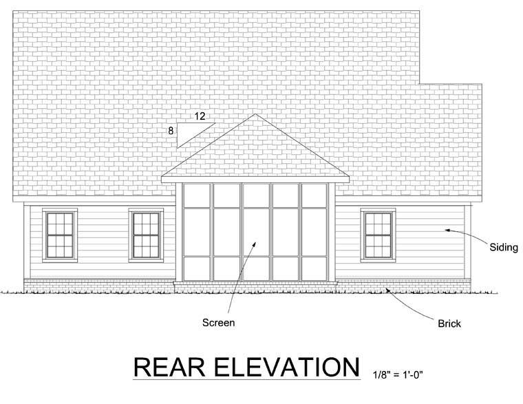 Country, Traditional House Plan 68209 with 3 Beds, 2 Baths, 2 Car Garage Rear Elevation