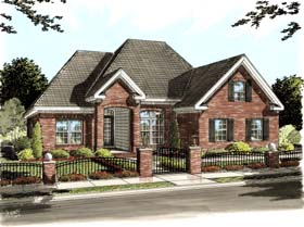House Plan 68225 | European Traditional Style Plan with 1595 Sq Ft, 3 Bed, 2 Bath, 2 Car Garage Elevation