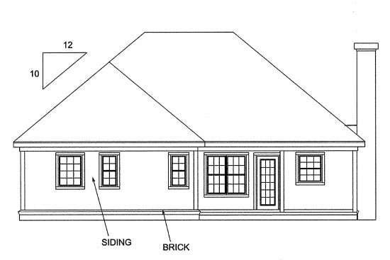 Traditional , Rear Elevation of Plan 68232