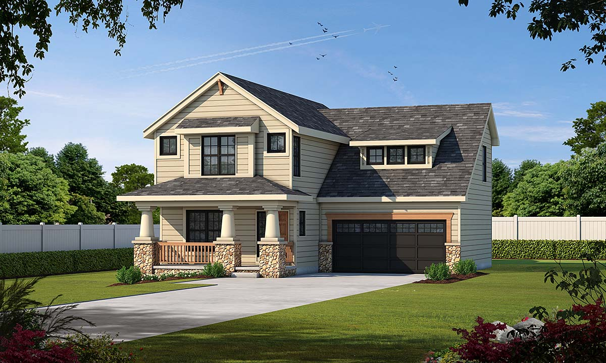 Craftsman House Plan 68234 with 3 Beds, 3 Baths, 2 Car Garage Elevation