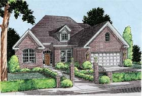 House Plan 68236 | European Traditional Style Plan with 1897 Sq Ft, 3 Bedrooms, 3 Bathrooms, 2 Car Garage Elevation