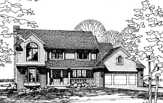 Traditional House Plan 68238 with 4 Beds, 3 Baths, 2 Car Garage Picture 1