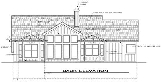 Traditional Rear Elevation of Plan 68241
