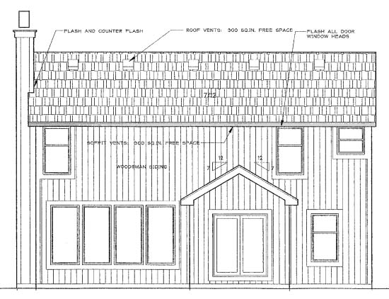 Traditional House Plan 68242 Rear Elevation