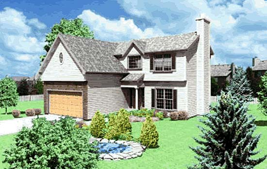 House Plan 68243 with 4 Beds, 2 Baths, 2 Car Garage Elevation