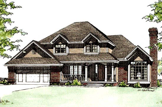 European House Plan 68246 with 4 Beds, 3 Baths, 2 Car Garage Elevation
