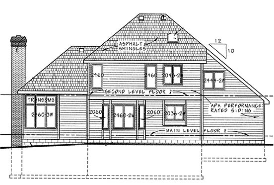 European House Plan 68246 with 4 Beds, 3 Baths, 2 Car Garage Rear Elevation