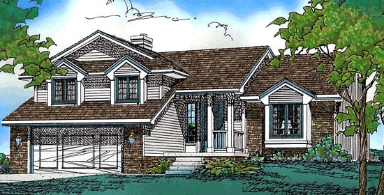 House Plan 68249 | Traditional Style Plan with 1699 Sq Ft, 3 Bedrooms, 3 Bathrooms, 2 Car Garage Elevation